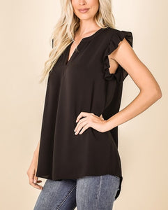 Woven ruffled sleeve HIGH-LOW hem blouse