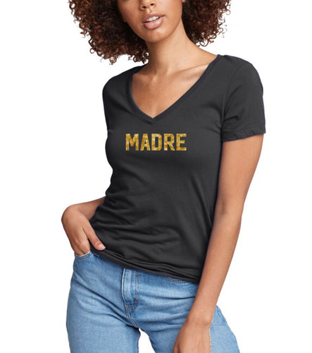 Madre (mom in Spanish) v-neck stretch fitted tee