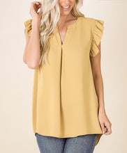 Load image into Gallery viewer, Woven ruffled sleeve HIGH-LOW hem blouse