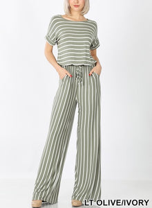 Pinstripe short sleeve jumpsuit elastic waist open back