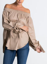 Load image into Gallery viewer, Gathered off-the-shoulder tassel tie long sleeve blouse
