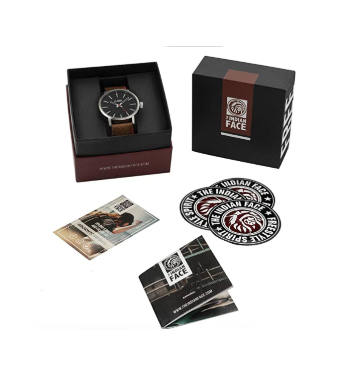 🅿 RELOJ LATITUDE Silver and Black - Pulsera Marrón - Alcabi