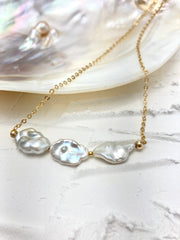 Mila Gold Pearl Wedding Necklace