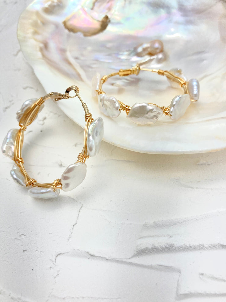 Paris Pearl Hoop Wedding Earrings