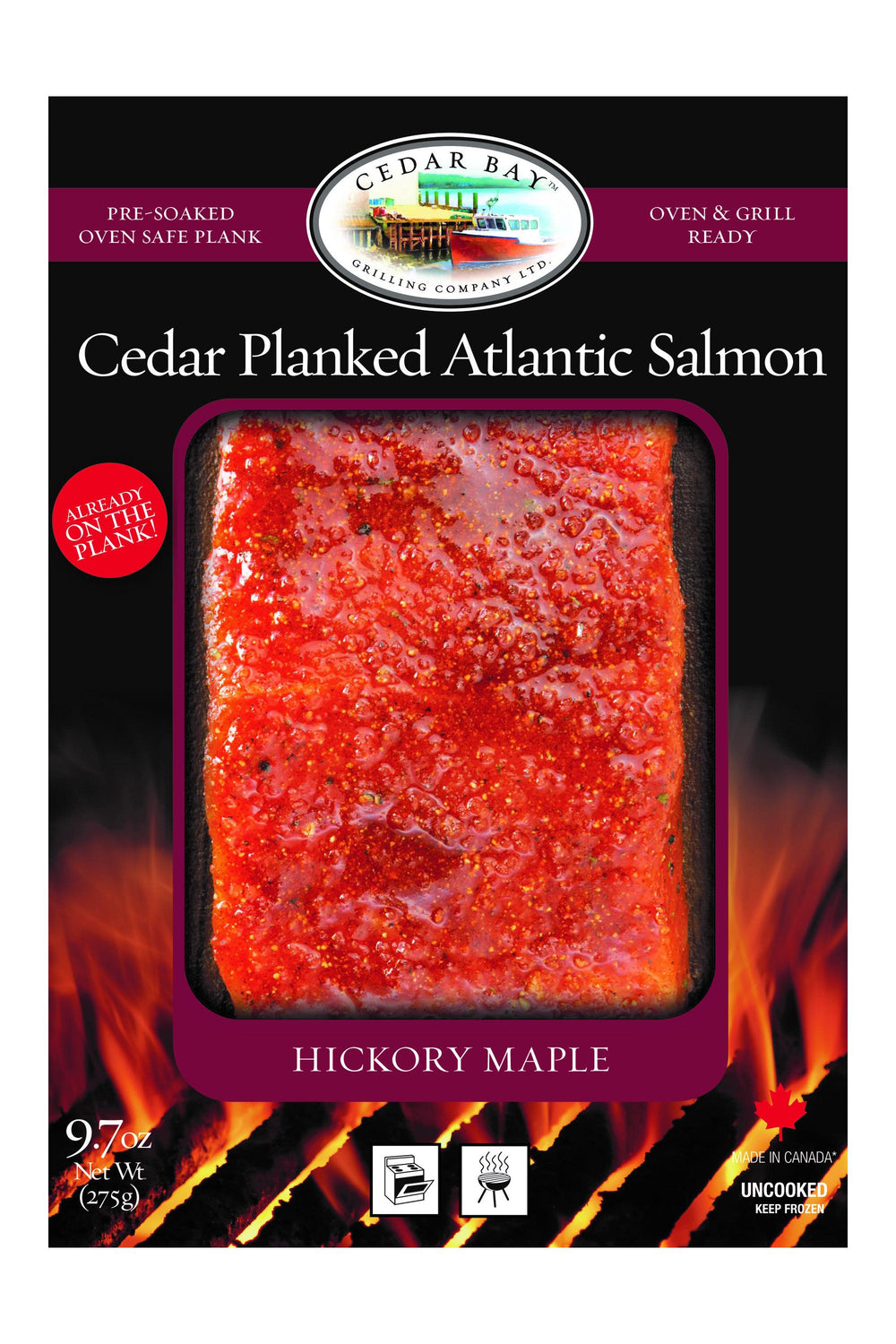 9.7 oz Cedar Planked Atlantic Salmon - Hickory Maple