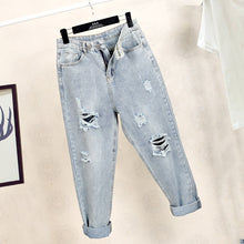 Load image into Gallery viewer, Ff1006-1 2019 new autumn winter women fashion casual Denim Pants boyfriend frayed ripped jeans for women street style