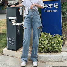 Load image into Gallery viewer, Artsnie High Waist Blue Casual Denim Pants Women Winter 2020 Vintage Hole Boyfriends Jeans Long Pants Female Loose Jeans Mujer