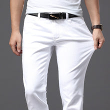 Load image into Gallery viewer, Brother Wang Men White Jeans Fashion Casual Classic Style Slim Fit Soft Trousers Male Brand Advanced Stretch Pants