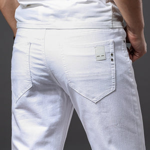 Brother Wang Men White Jeans Fashion Casual Classic Style Slim Fit Soft Trousers Male Brand Advanced Stretch Pants
