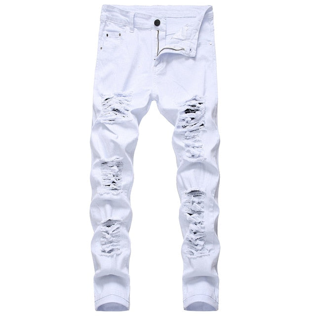 Gersri Straight Hole Destruction Trousers Distressed Jeans Men Denim Trousers Men Jeans Fashion Designer Brand White Jean Male