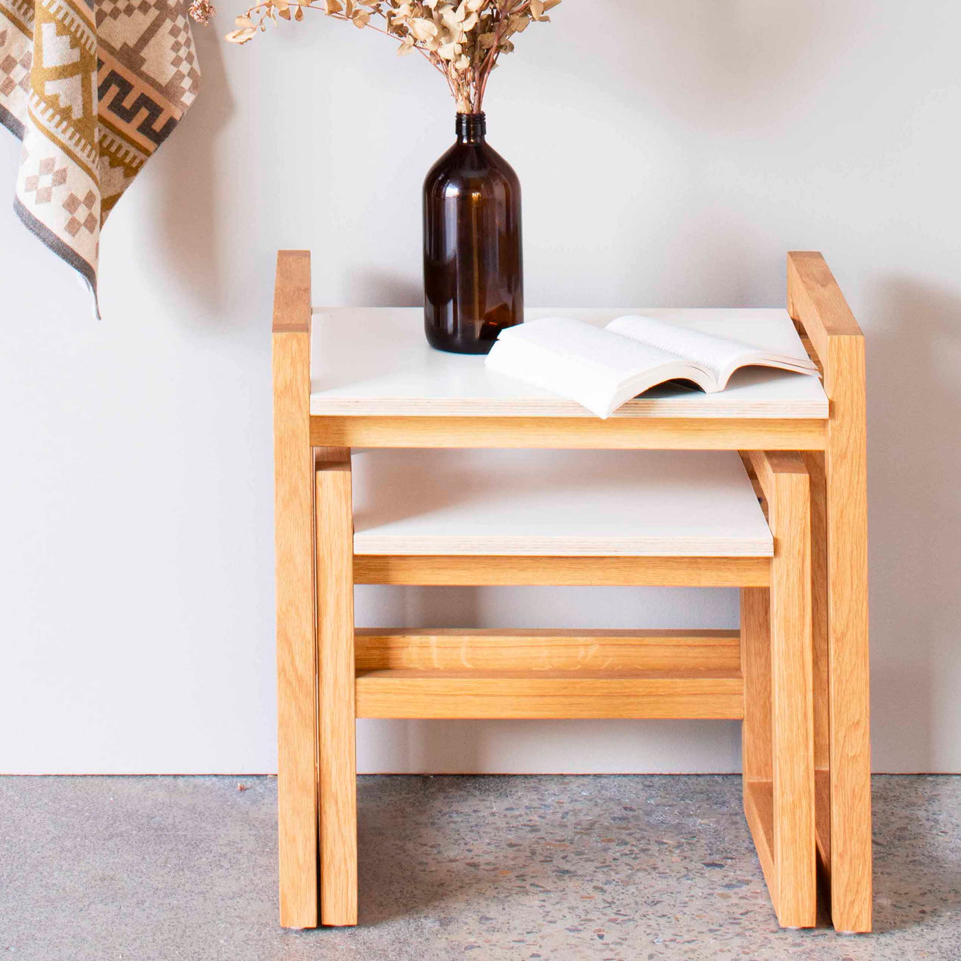Oak Nest of Tables - Polar White
