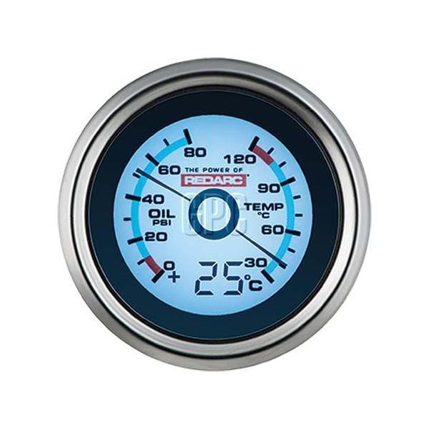 Redarc Single Oil Pressure 52mm Gauge with optional temperature display - Micks Gone Bush