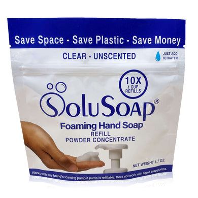 10X Refills of SoluSoap Foaming Hand Soap Powder Concentrate - in Pouch with Scoop - Free Shipping