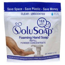 Load image into Gallery viewer, SoluSoap - Makes 5 Gallons of Gentle Foaming Hand Soap, Refill Powder Concentrate, Includes 1 Gallon Refillable Jug & five (5) 16X SoluSoap pouches, - Free Shipping