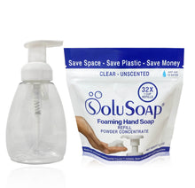 Load image into Gallery viewer, 32X Refills of SoluSoap Foaming Hand Soap Powder Concentrate - in Pouch with Scoop - Free Shipping