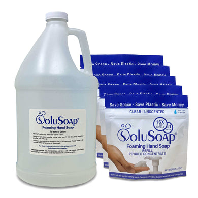 SoluSoap - Makes 5 Gallons of Gentle Foaming Hand Soap, Refill Powder Concentrate, Includes 1 Gallon Refillable Jug & five (5) 16X SoluSoap pouches, - Free Shipping