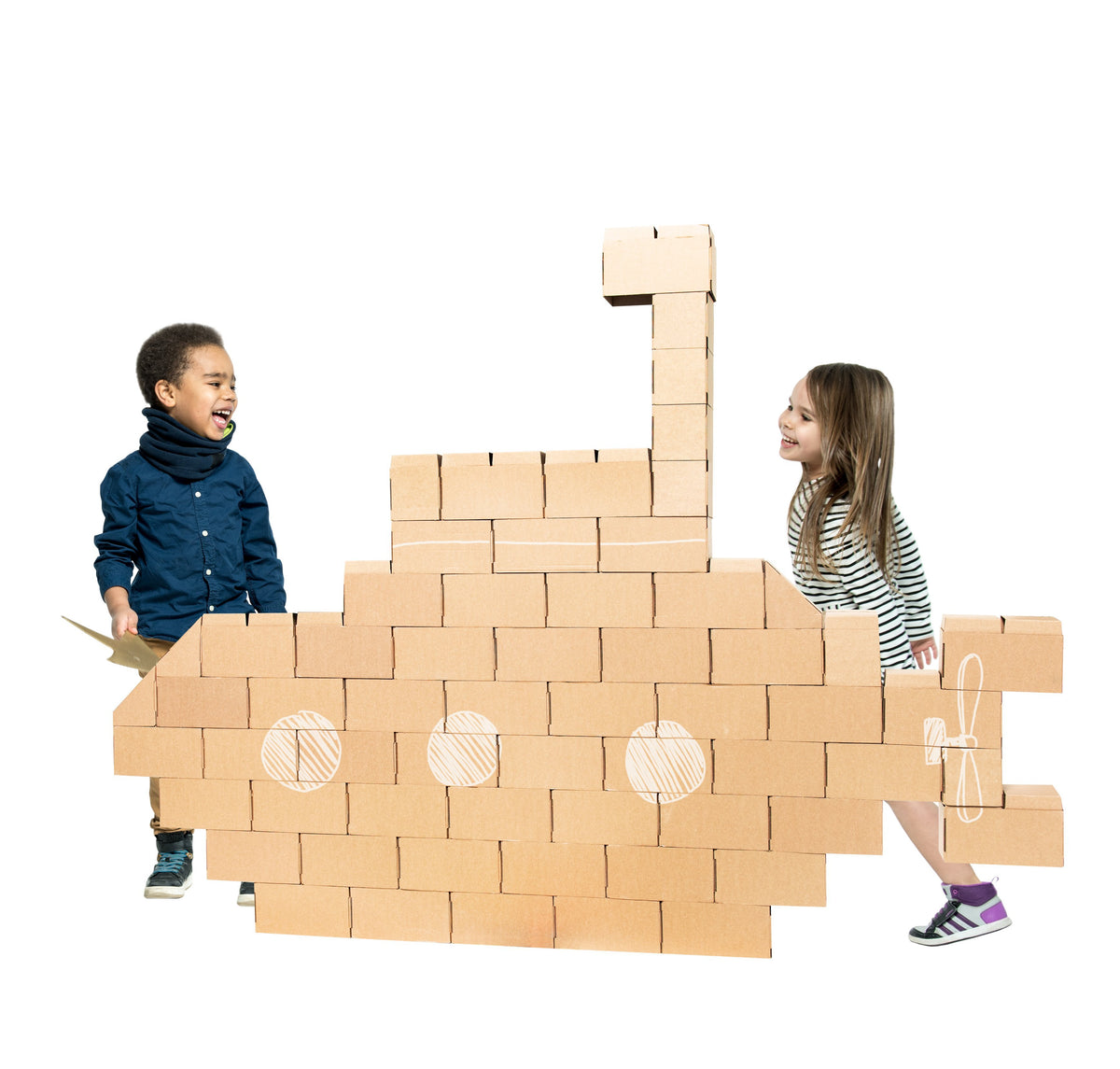 60 XXL Cardboard Bricks Set for Kids - GIGI Bloks