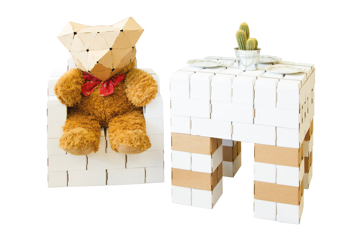 96 XL White CardBoard Building Bricks Set - GIGI Bloks