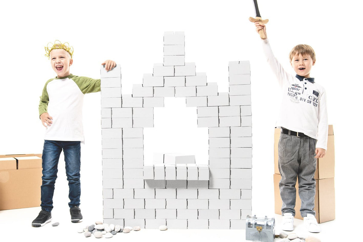 96 XL Interlocking White Building Blocks Set For Kids - GIGI Bloks
