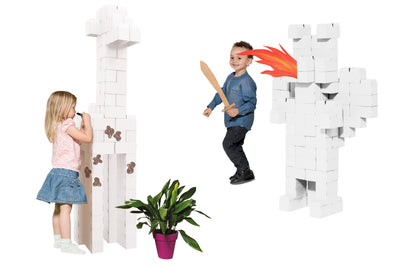 96 XL White Jumbo Cardboard Building Blocks with Smart Interlocking System