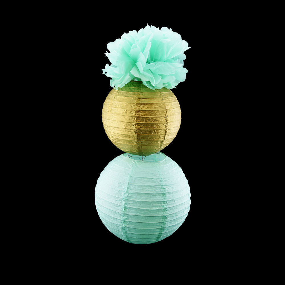 Mint & Gold Hanging Paper Decoration