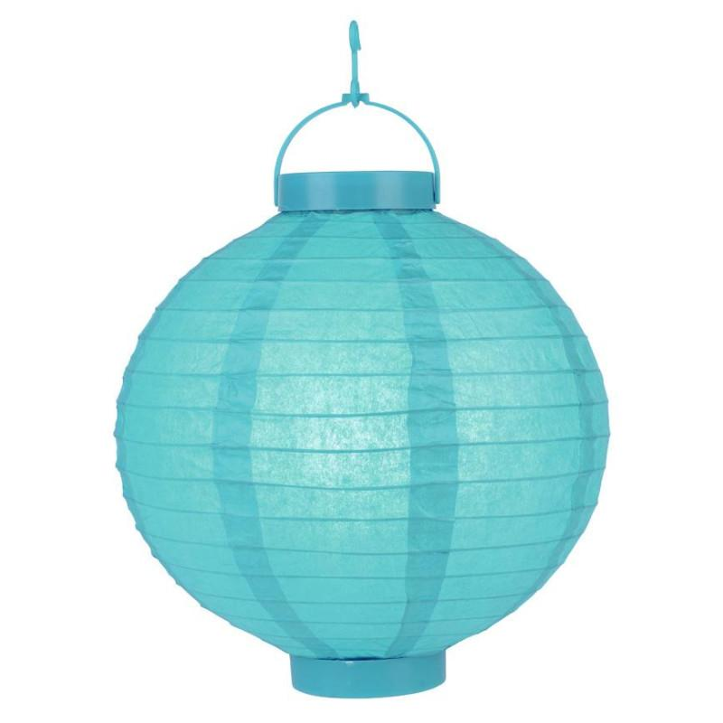 Turquoise LED Round Paper Battery Lantern