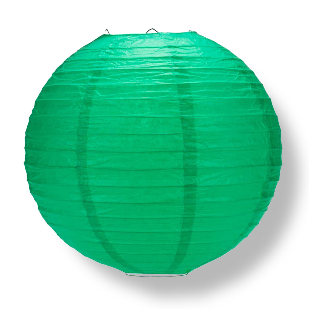 Arcadia Teal Green Round Even Ribbing Paper Lanterns
