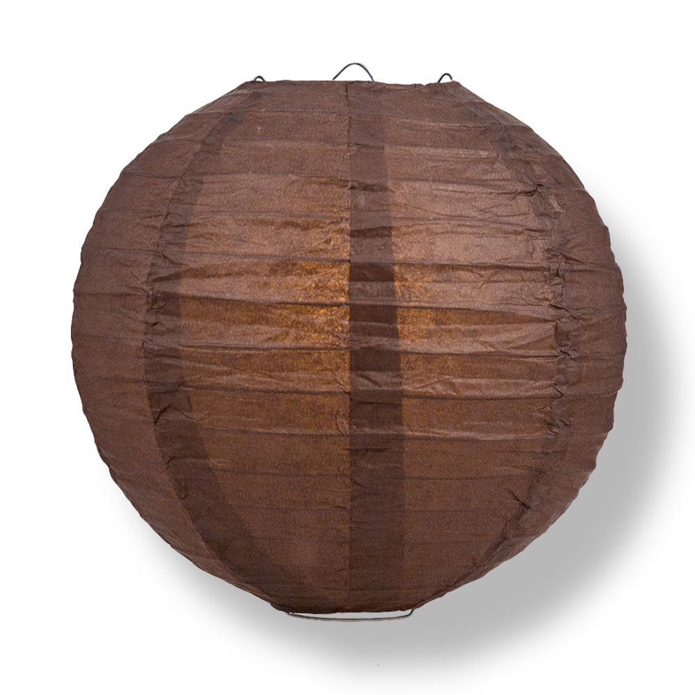 Brown Round Even Ribbing Paper Lanterns