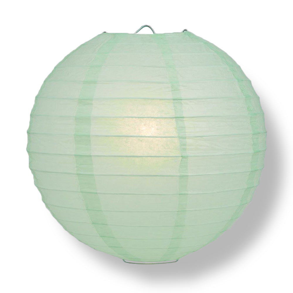 Cool Mint Green Round Even Ribbing Paper Lanterns
