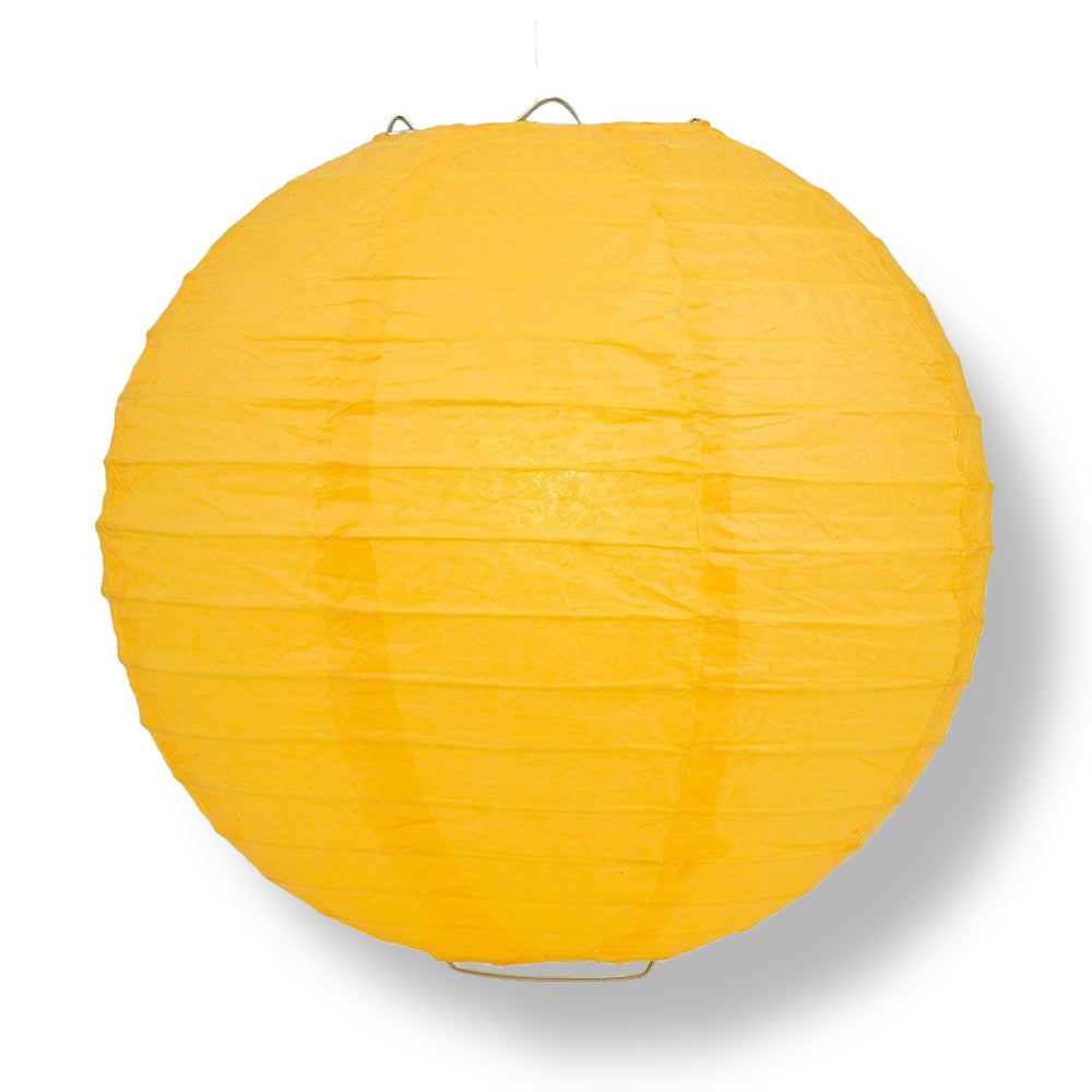 Yellow-Orange Round Even Ribbing Paper Lanterns
