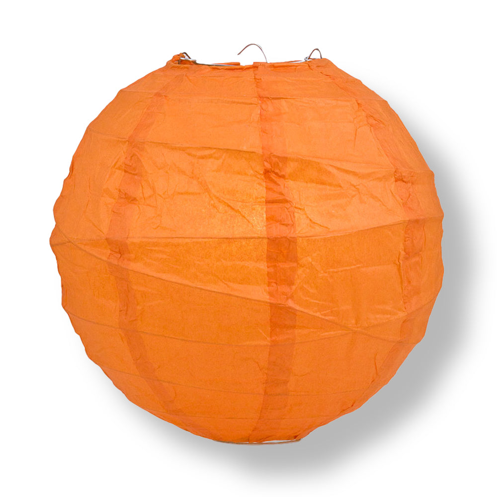 Persimmon Orange Crisscross Ribbing Paper Lanterns