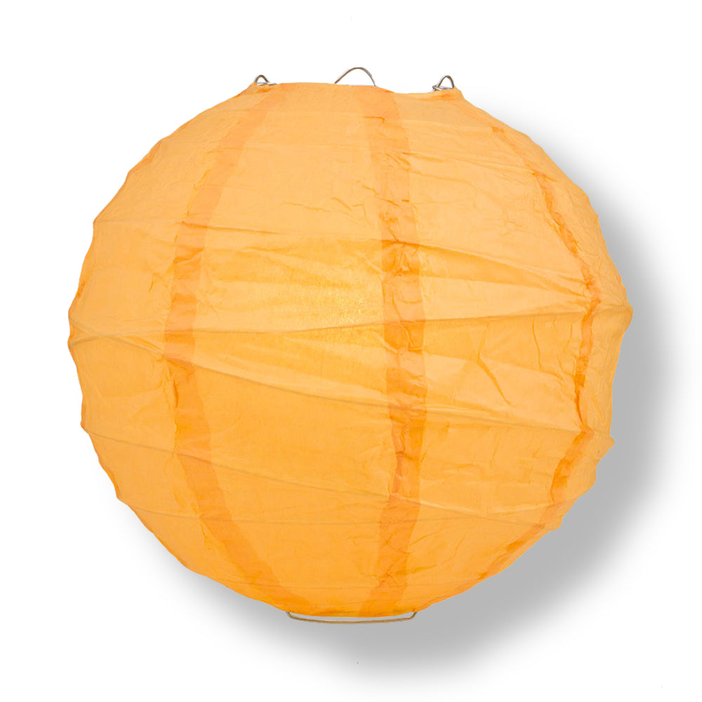 Papaya Crisscross Ribbing Paper Lanterns