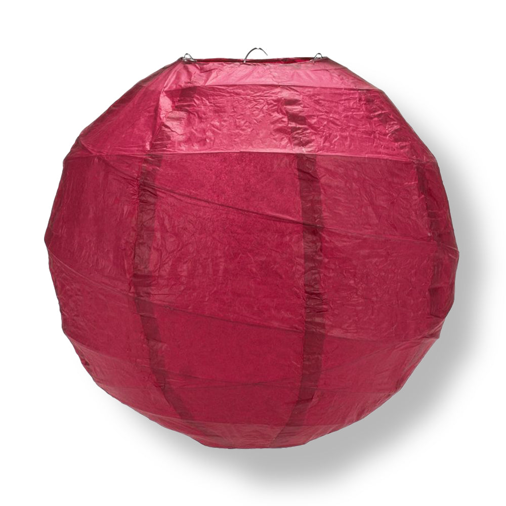Velvet Rose Red Round Crisscross Ribbing Paper Lanterns