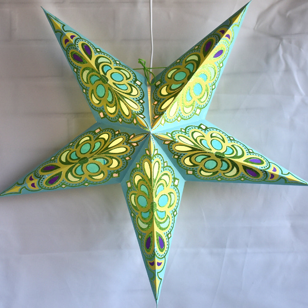 Premium Glitter Patterned 5 Point Star Lanterns