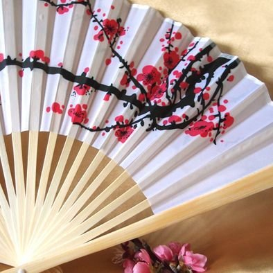 Cherry Blossom Silk Folding Hand Fan