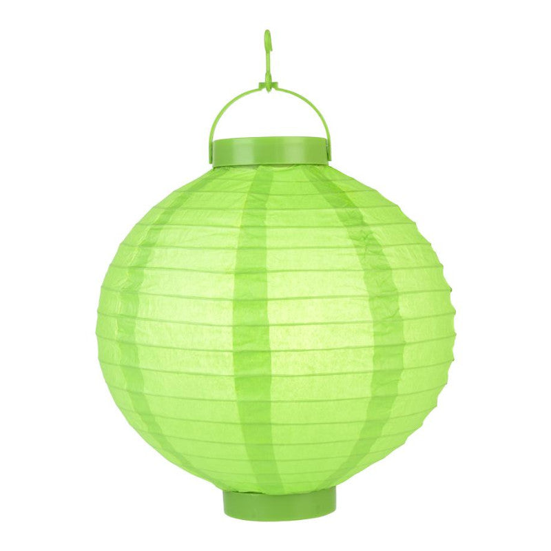 Grass Green LED Round Paper Battery Lantern