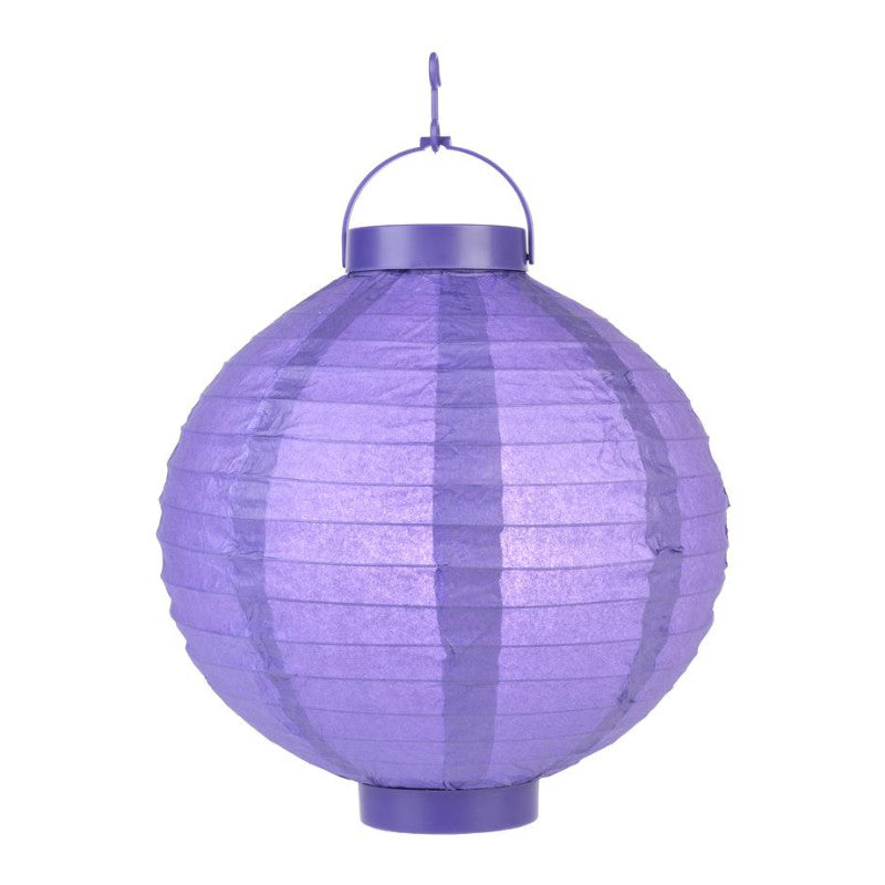 Dark Purple LED Round Paper Battery Lantern