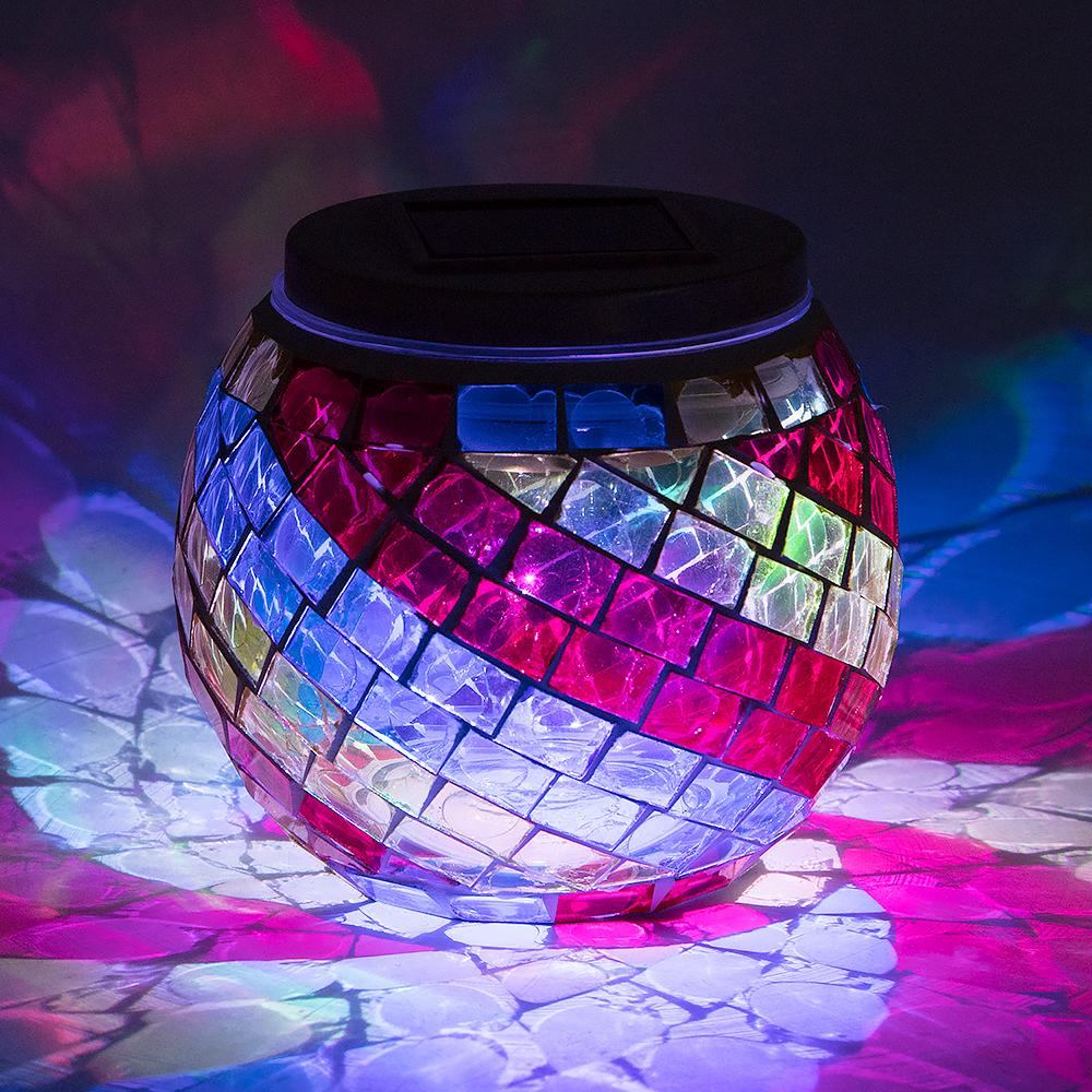 Mosaic Glass Garden Candle Holders