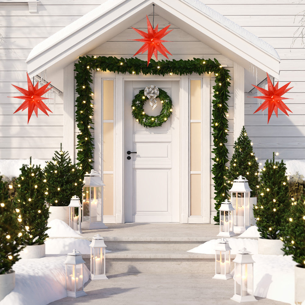 Outdoor Weatherproof Star Lanterns Hanging on Front Door