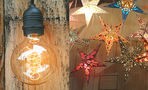 Collage of PaperLanternStore's Popular Products such as Lighting and Paper Stars