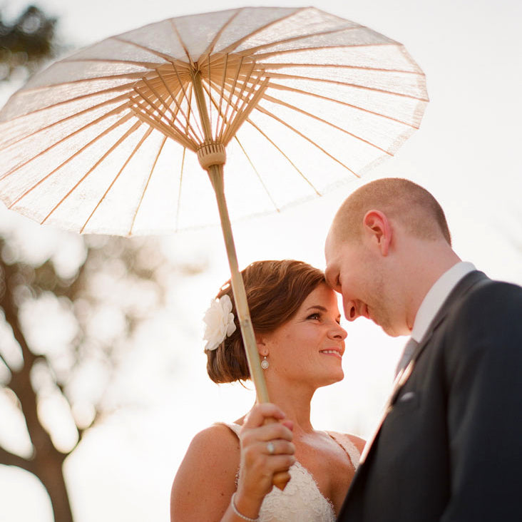 Paper Parasol with Bride and Groom at Wedding