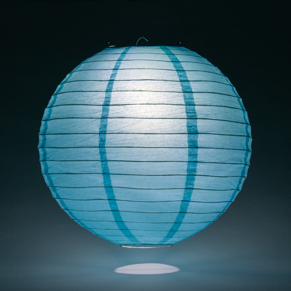 "36"" Baby Blue Jumbo Round Paper Lantern, Even Ribbing, Chinese Hanging Wedding & Party Decoration"