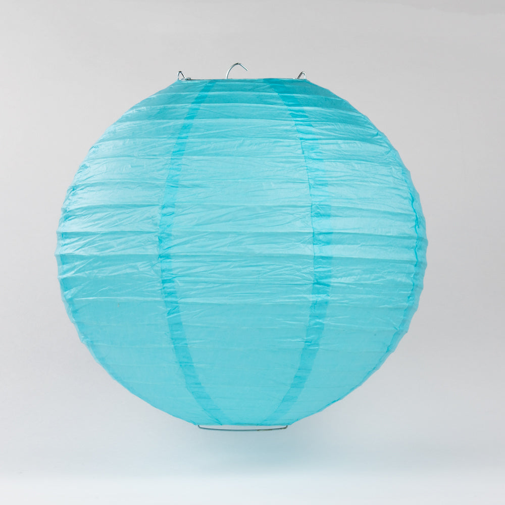 "10"" Baby Blue Round Paper Lantern, Even Ribbing, Chinese Hanging Wedding & Party Decoration"