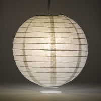 "24"" Gray / Grey Round Paper Lantern, Even Ribbing, Chinese Hanging Wedding & Party Decoration"