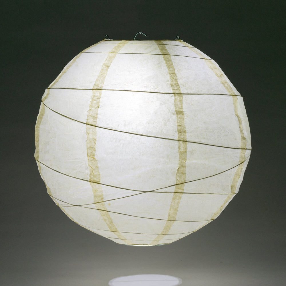 "24"" Ivory Round Paper Lantern, Crisscross Ribbing, Chinese Hanging Wedding & Party Decoration"