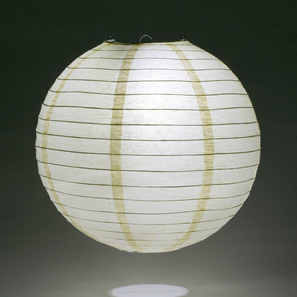 "14"" Ivory Round Paper Lantern, Even Ribbing, Chinese Hanging Wedding & Party Decoration"