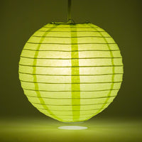 "8"" Light Lime Green Round Paper Lantern, Even Ribbing, Chinese Hanging Wedding & Party Decoration"