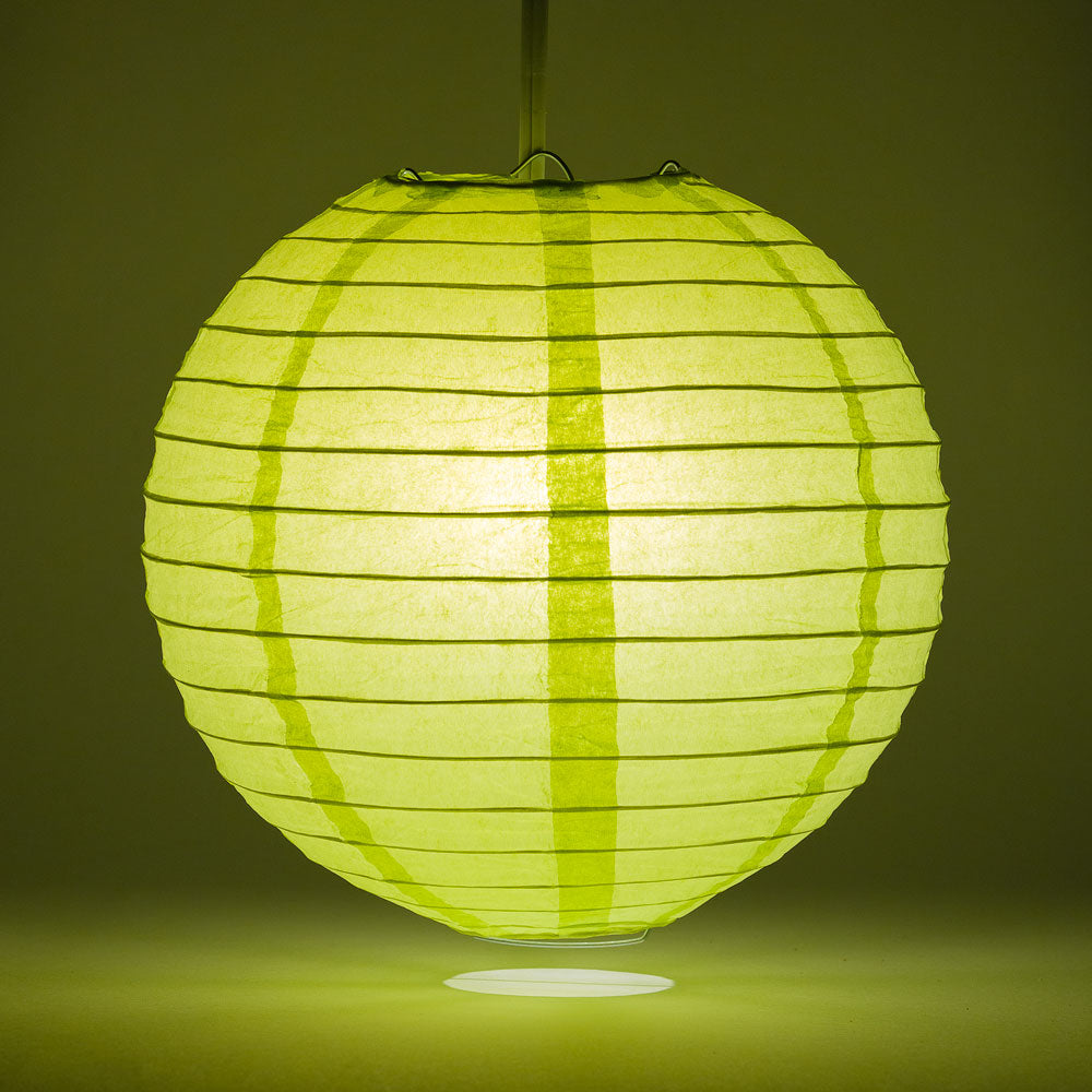 "20"" Light Lime Green Round Paper Lantern, Even Ribbing, Chinese Hanging Wedding & Party Decoration"