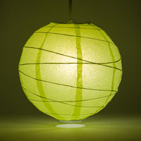 "12"" Light Lime Green Round Paper Lantern, Crisscross Ribbing, Chinese Hanging Wedding & Party Decoration"