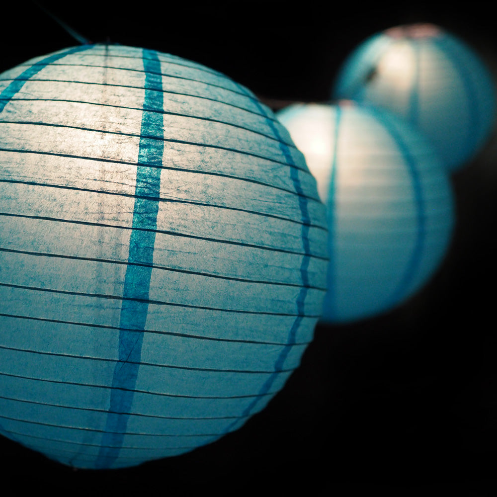 "MoonBright 12"" Turquoise Paper Lantern String Light Set (10-PACK Combo Kit)"